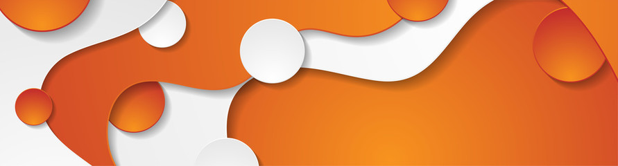 Contrast orange and white curved waves pattern. Abstract corporate wavy background with circles. Vector banner design
