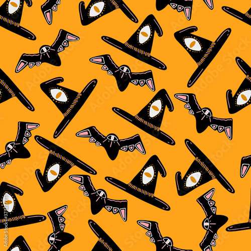 Cool pattern for halloween from the hats and bats Canvas Print