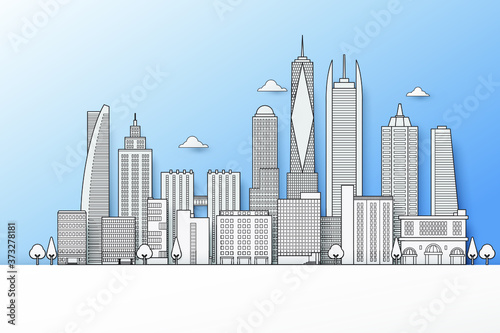 Fototapeta City buildings; in landscape vector illustration, thin line art, paper cut with shadow style