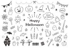 ハロウィンにまつわる手描きイラストセット