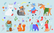 Christmas Animal Vector Illustration Set. Cartoon Cute Hand Drawn Zoo Collection With Funny Animal Characters Enjoy Xmas Holidays, Dressed In Winter Costumes Or Accessories, Sweater, Hat And Scarf