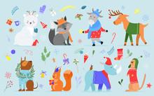 Christmas Animal Vector Illust...