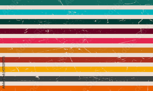 Retro colorful stripe with grunge filter Canvas Print