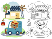 Funny Bear Cartoon Go Home With Little Car, Coloring Book Or Page
