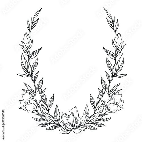 Fotografie, Obraz Vector frame of plant elements for wedding invitations