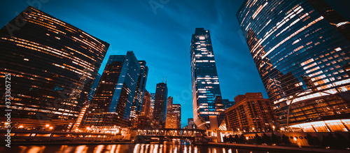 panoramic view of Chicago skyline by night