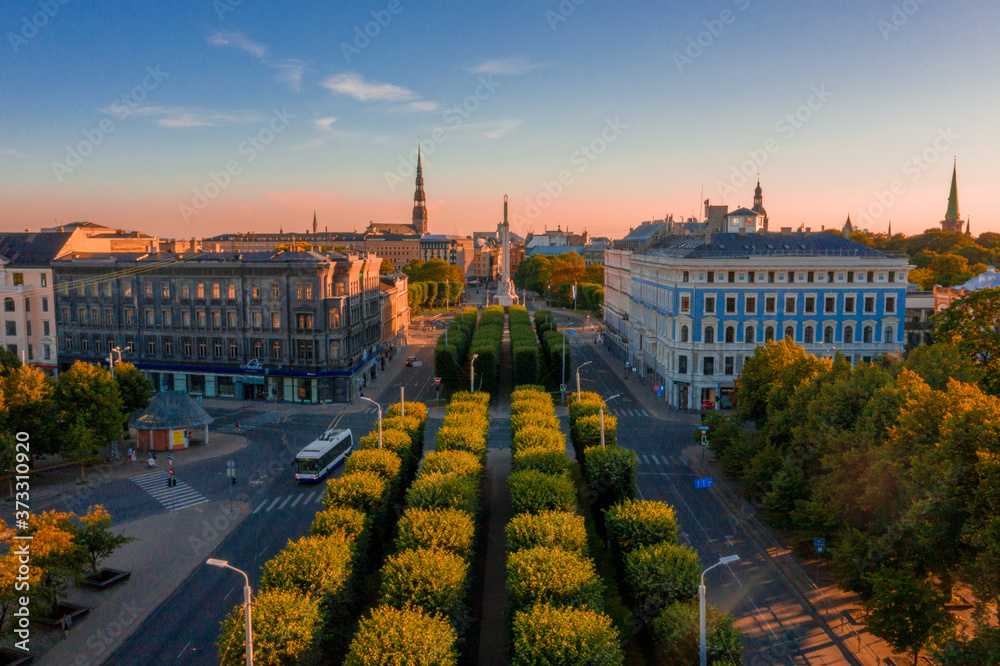Fototapeta Aerial view of the cathedral of the Nativity of Christ in Riga, Latvia