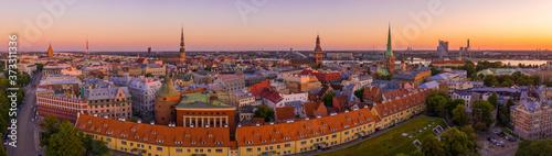 Beautiful aerial panorama of Riga center and Vansu bridge over D Fotobehang