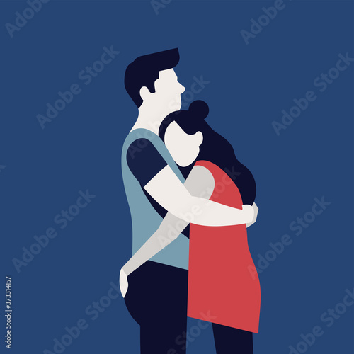 Quality flat vector illustration on abstract romantic couple hugging each other Wallpaper Mural