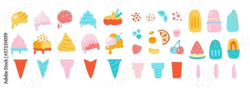 Obraz na plátně Ice cream elements