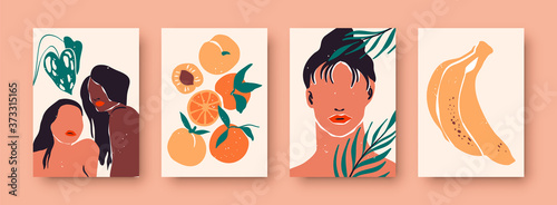 Fototapeta Abstract women portrait set, trendy diverse woman illustration collection with tropical nature decoration and still life fruit. Wall print template for fashion, feminist, or beauty concept. obraz