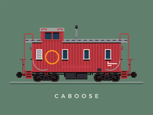 Lovely Flat Design Train Crew Caboose Freight Car Illustration. Ideal For Scale Model Railway Dedicated Graphic, Motion And Web Design
