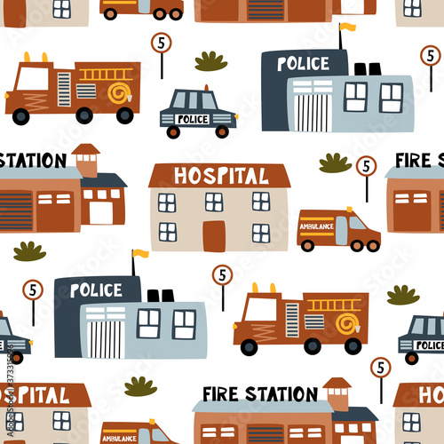seamless pattern with city buildings - vector illustration, eps Canvas Print