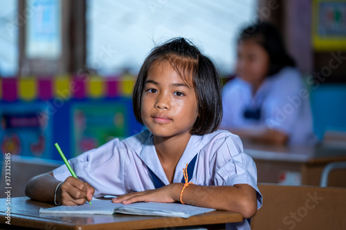 Elementary school kids sitting at desks in classroom,education,learning and people concept Canvas Print