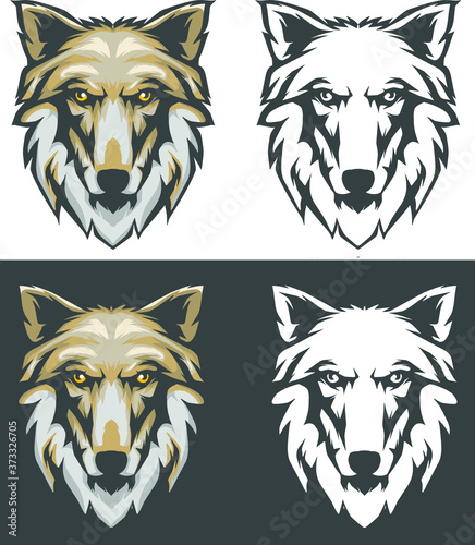 vector illustration of a wolf, wolf head vector set Tableau sur Toile