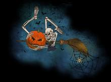Ad Halloween Un Pipistrello Abbraccia Il Braccio Di Uno Scheletro Il Quale Abbraccia Una Zucca Trafitta Dal Manico Di Una Scopa Volante