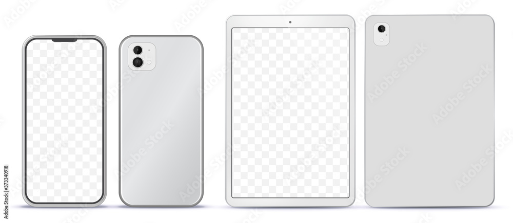 Fototapeta Silver Mobile Phone and Tablet Computer Mockup With Front and Back Side View.