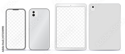 Fototapeta Silver Mobile Phone and Tablet Computer Mockup With Front and Back Side View