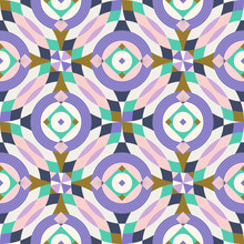 Half Drop Circular And Diamond Shapes Kaleidoscope Inspired Seamless Pattern, Surface, Texture, Fabric, Print Design. Wrapping Paper, Gift, Stationery, Background, Backdrop, Branding Identity Motif