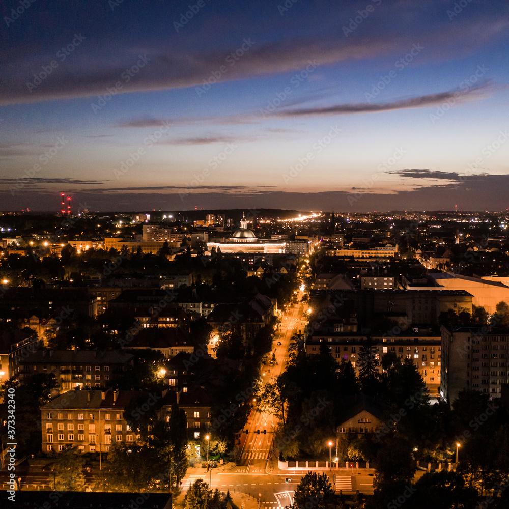 Fototapeta Nocny krajobraz miasta Katowice