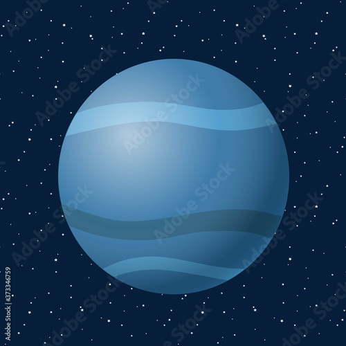 Photographie Neptune on blue night sky with star, space, cosmos icon illustration vector