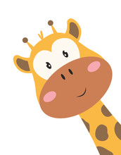 Card With Cute Giraffe Isolated On White