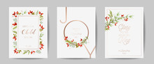 Set Of Elegant Merry Christmas And New Year 2021 Cards With Pine Branches, Holy Berry, Mistletoe, Winter Floral Plants Design Illustration, Greetings, Invitation 2020, Flyer, Brochure, Cover In Vector