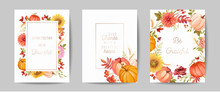 Set Of Thanksgiving Day Greeting, Invitation Card, Flyer, Banner, Poster Template. Autumn Pumpkin, Flower, Leaves, Floral Design Elements. Vector Illustration