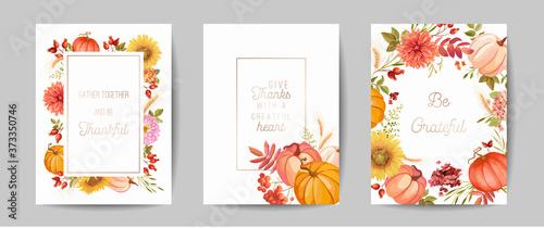 Set of Thanksgiving Day greeting, invitation card, flyer, banner, poster template Billede på lærred