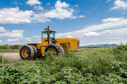 Photo Big yellow tractor on sunflower and corn field blue cloudy sky