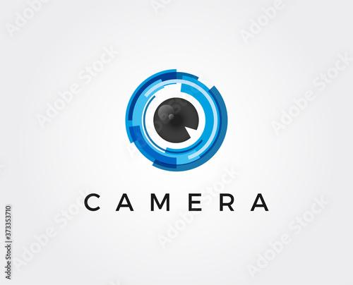 Fotografie, Obraz minimal camera lens logo template - vector illustration