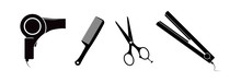 Hairdryer, Scissors, Comb And Hair Straightener. Hairdressing Accessories.