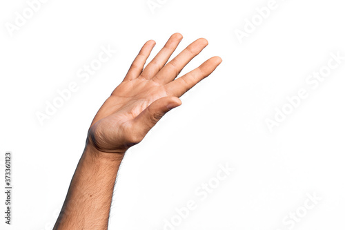 Stampa su Tela Hand of caucasian young man showing fingers over isolated white background prese