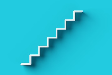 White steps or stairs on blue cyan background, minimal career, success or growth concept