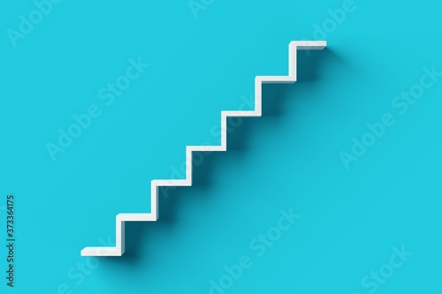 Fotografia White steps or stairs on blue cyan background, minimal career, success or growth