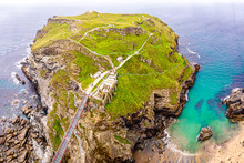 Aerial View Of Tintagel Castle In Cornwall