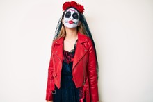 Woman Wearing Day Of The Dead ...