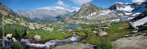 Fotografija Amazing mountain valley, extra wide panorama, Altai