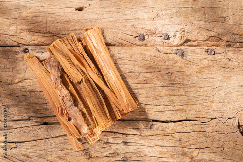 stack of palo santo wood on the table (Bursera graveolens) Fototapet