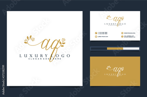 Initial AQ Feminine logo collections and business card templat Premium Vector Fototapeta
