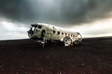 Plane Wreck In A Black Desert
