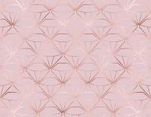 Luxury Rose Gold Diamonds Seamless Pattern.