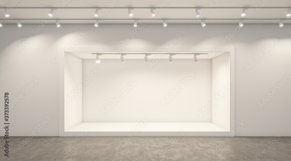 Fototapeta Empty white studio backdrops and spotlight on entertainment room background with showing scene. White product display or blank room. 3D rendering.