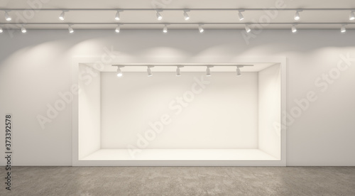 Empty white studio backdrops and spotlight on entertainment room background with showing scene Fototapeta