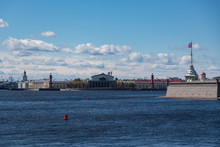 View  Spit Of Vasilievsky Island With Rostral Columns And Naryshkin Bastion Of The Peter And Paul Fortress,  St. Petersburg, Russia.