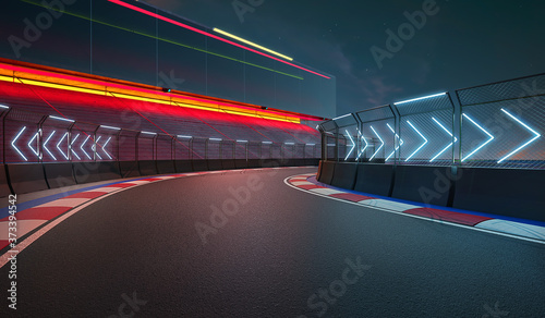 Night scene modern international race track Fototapet