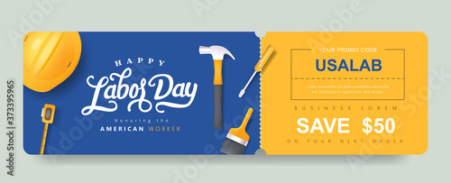 Leinwand Poster USA Labor day Gift promotion Coupon banner background