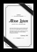 Funeral Card Vector Template W...