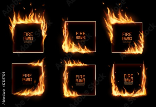 Square frames in fire, vector burning borders Fototapet