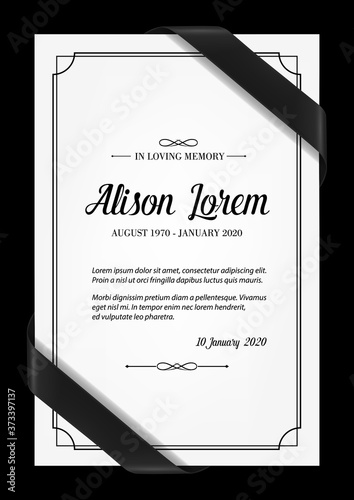 Funeral card vector template with black frame, mourning ribbons in corners, place for name, birth and death dates Wallpaper Mural